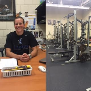 Sylvia Braaten (left) says that one good way to maintain one's fitness is to lift weights in the Totino-Grace weight room (right).