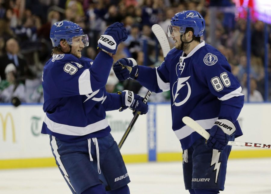 Steven+Stamkos+%28left%29+congratulates+line+mate+Nikita+Kucherov+%28right%29+after+big+win+over+the+Chicago+Blackhawks.