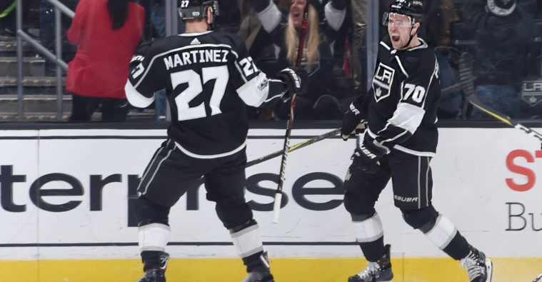 LOS+ANGELES%2C+CA+-+DECEMBER+9%3A++Tanner+Pearson+%2370+of+the+Los+Angeles+Kings+celebrates+with+Alec+Martinez+%2327+after+scoring+the+game-winning+goal+in+overtime+against+the+Carolina+Hurricanes+at+STAPLES+Center+on+December+9%2C+2017+in+Los+Angeles%2C+California.+%28Photo+by+Adam+Pantozzi%2FNHLI+via+Getty+Images%29