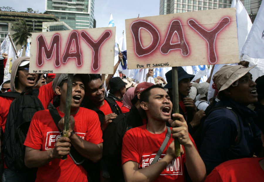 Indonesian workers shout slogans during a May Day protest in Jakarta, Indonesia, Sunday, May 1, 2011. (AP Photo/Irwin Fedriansyah)